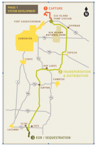 The route planned for the Enhance CO-2 pipeline.