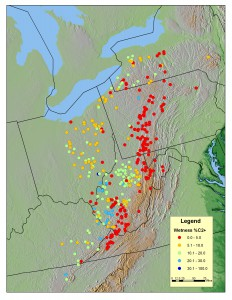 Marcellus Wetness Distribution (image courtesy of GeoMark Research, Ltd. – Marcellus Study)