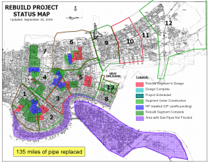 The plan for New Orleans' gas rebuild, showing completed and targeted areas.