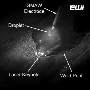 Figure 1: Typical Hybrid Laser-GMAW (HLAW) arc and weld pool.