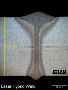 Figure 2: HLAW weld in 0.49-inch (12.5-mm) thick steel.