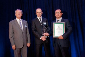 Marco Laurini (right) of Laurini Officine Meccaniche S.r.l.,  receives the IPLOCA New Technologies Award from Julian White of BP (center) and newly elected IPLOCA president Osman Birgili, Tekfen Construction.