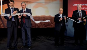 Stan Kovalovs, president of OMK North America; Vladimir Markin, president of OMK Russia; Don Woo, president of contractor Mission Constructors; and Terry Cantrell, plant manager of OMK Tube, cut the ribbon during the official opening.