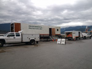 A live exercise of emergency measures involves significant planning and equipment. (Photo courtesy Kinder Morgan Canada).