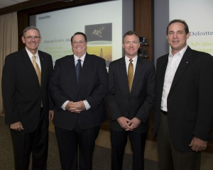 "(left to right) William ""Bill"" McArthur, Jr., Director of JSC's Safety and Mission Assurance office, David Traylor, Deloitte Principal, John England, Deloitte Oil & Gas Chair and Steve Altemus, Johnson Space Center Deputy Director stand for pictures at press event announcing NASA and Deloitte's strategic alliance to offer advanced risk-management services to oil and gas companies. Thursday, June 27, 2013 at the Johnson Space Center in Houston, photo by Bill Stafford, courtesy of NASA."