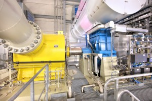 This pipeline compressor (left) is driven by a steam turbine in a natural gas station located in Mallnow, Germany.