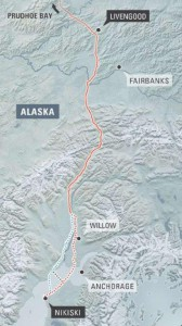 Map provided by the Alaska LNG project sponsors, shows possible alternate routes across Cook Inlet to the proposed Nikiski liquefaction plant.