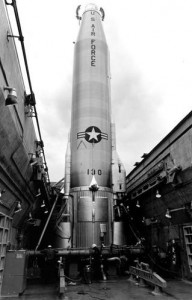 An Atlas E missile being fueled with liquid oxygen and kerosene in 1957.