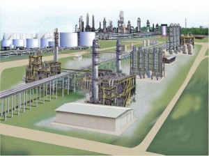 An artist's rendering of Sasol North gas-to-liquids (GTL) complex in Lake Charles, LA.