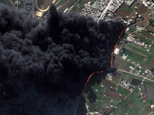 A Digital Globe satellite captured this image of a pipeline fire in Syria, February 2012