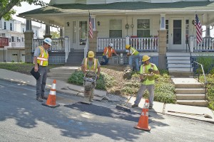 A permanent street repair is made Pottsville, PA, following replacement work.