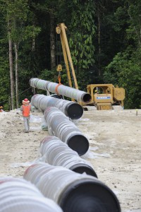 Pipe stringing along the onshore pipeline right of way.